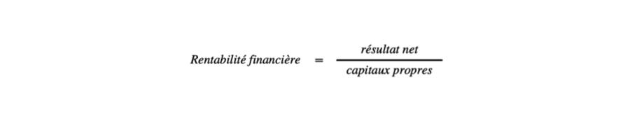 Formule de calcul de la rentabilité financière dans le cadre de l'analyse financière de l'entreprise.