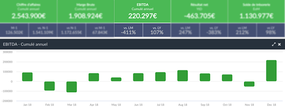 Un écran de suivi de l'EBITDA dans la plateforme EMAsphere