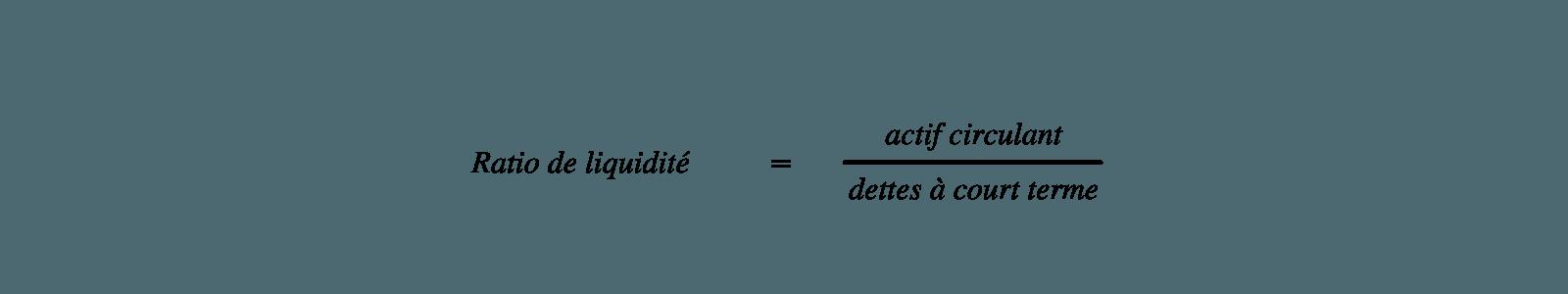 Calcul du ratio de liquidité dans le cadre de l'analyse financière de l'entreprise
