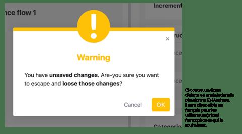 Un écran d'alerte modérée dans EMAsphere