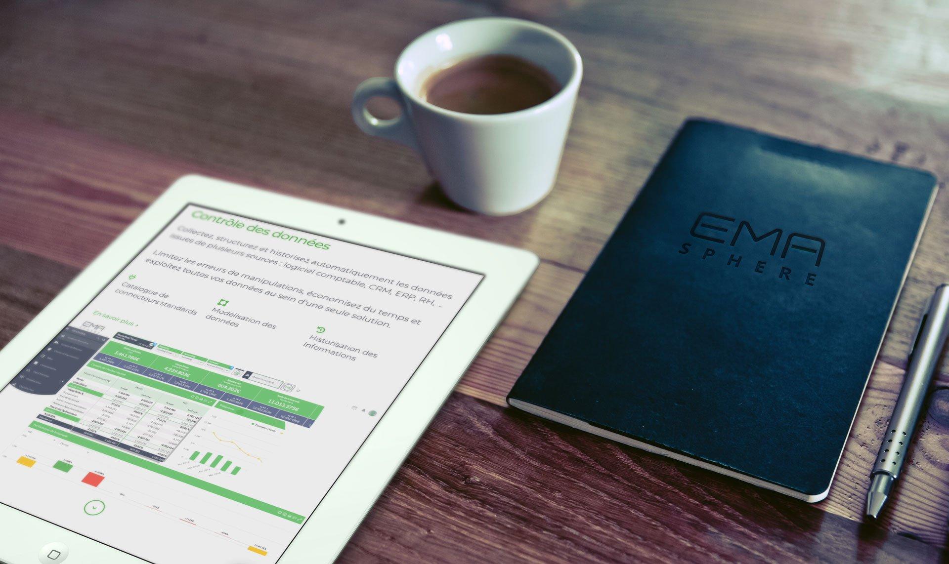 iPad avec le site d'EMAsphere et Notebook